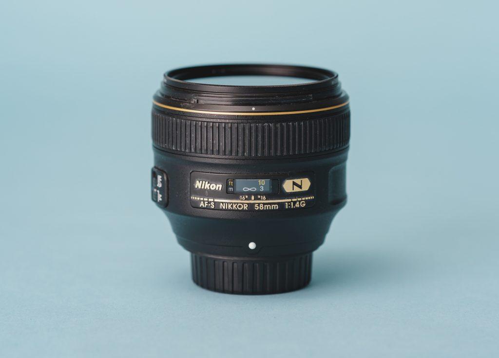 A 58mm prime lens for DLSR cameras.