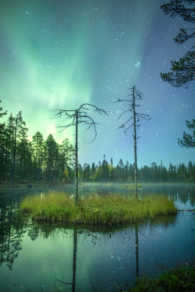 The northern lights over water.