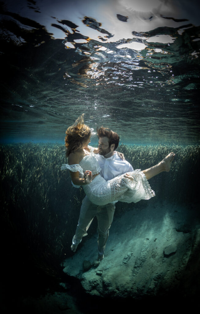 Underwater photography gives a photo shoot a touch of drama.