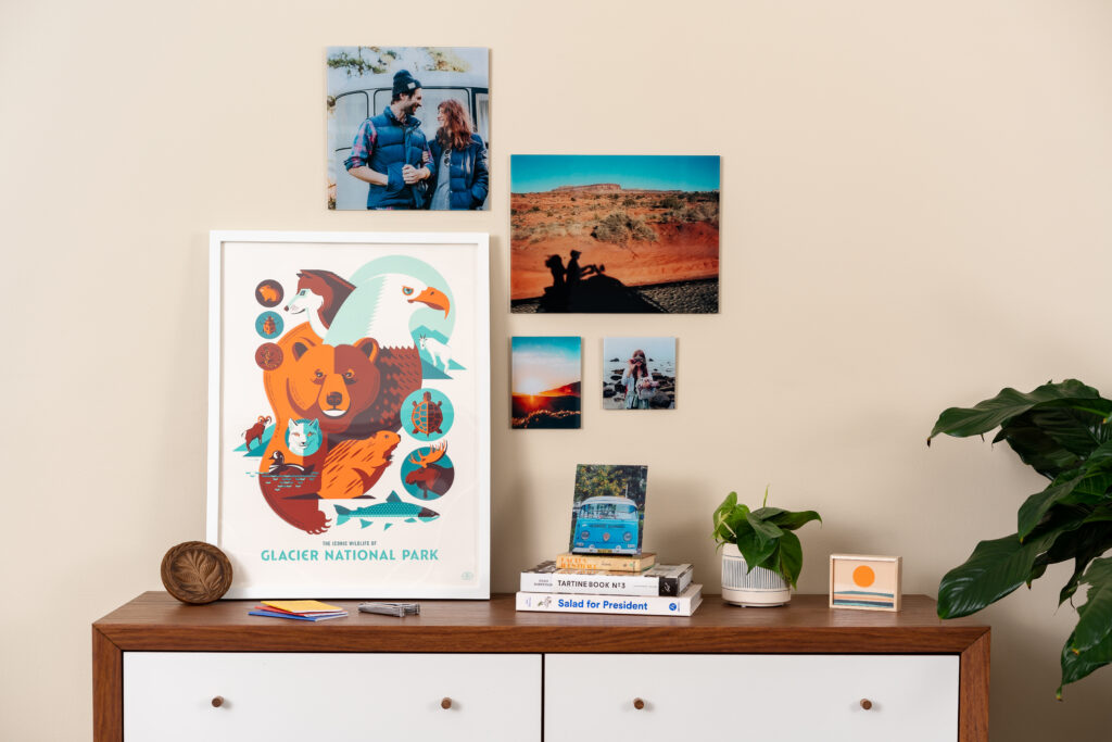 Create a gallery wall of vacations photos.