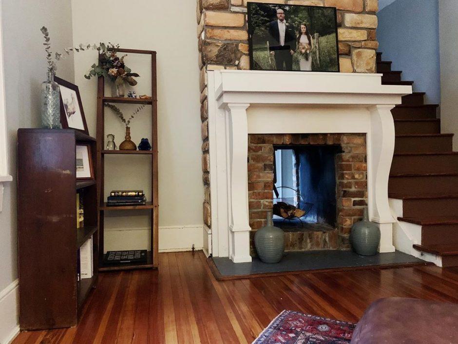 Family photos make great mantel decor.