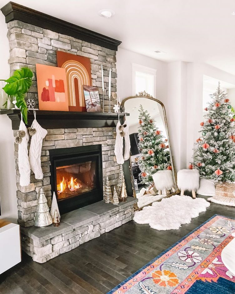 Winter and christmas mantel decorating ideas