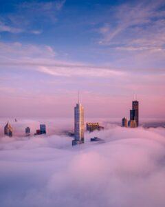 Fog over the Chicago skyline.
