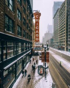 The Chicago Theater in winter.