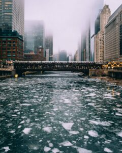 Ice floating in the Chicago River.