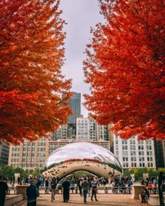 Chicago's famous Cloud Gate in autumn.