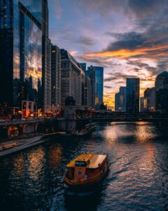 A sunset cruise on the Chicago River.