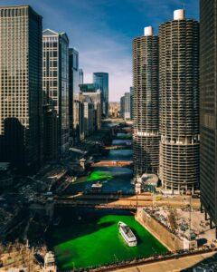 The Chicago River dyed green from St. Patrick's Day.
