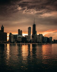 The Chicago Skyline from Milton Lee Olive Park
