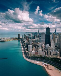Aerial view of Chicago's Lakefront.