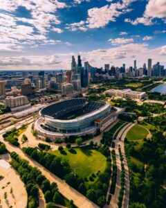 An aerial view of Soldier Field, home of the Chicago Bears.
